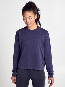 Seamless Boxy Long-Sleeve T-Shirt, Dark Grey, large