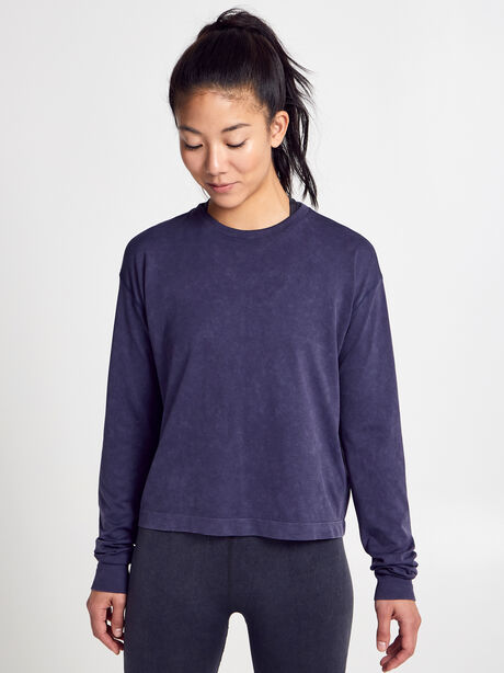 Seamless Boxy Long-Sleeve T-Shirt, Dark Grey, large image number 0