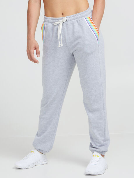 Rainbow Inset Sweatpants, Heather Grey, large image number 0