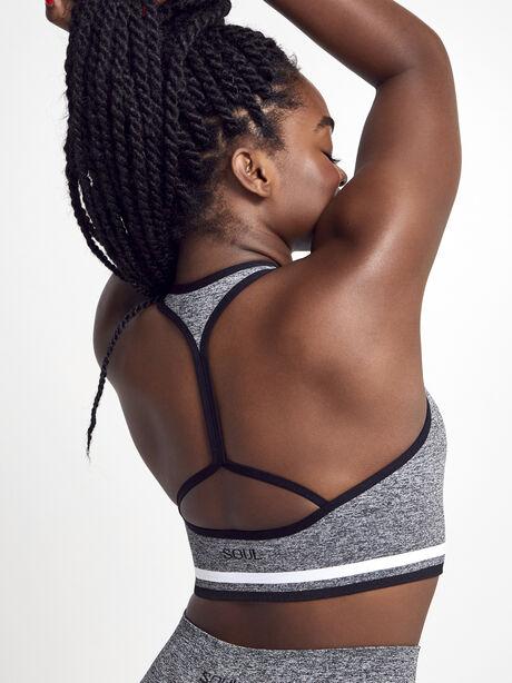 Melange Seamless Sports Bra, Grey, large image number 2