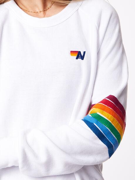Rainbow Stitch Crew Sweatshirt White, White, large image number 2