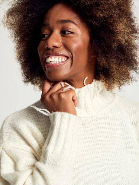 Kori Turtleneck Ivory Sweater, White, large image number 1