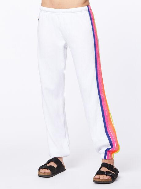 Exclusive 5 Stripe Sweatpant White/Rainbow Hamptons, White, large image number 1