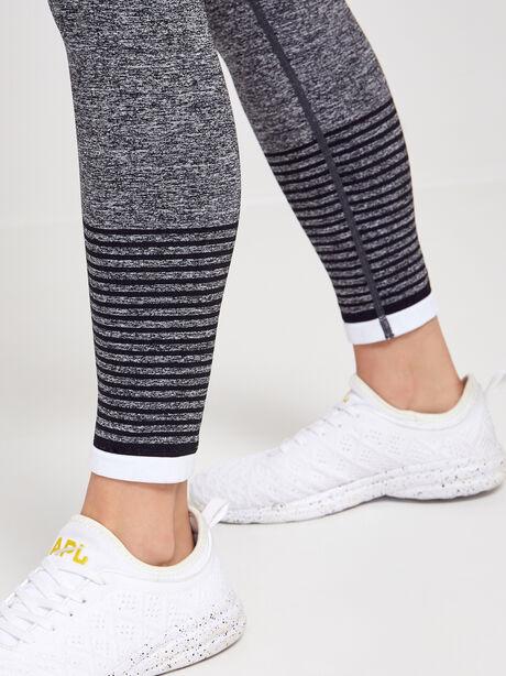 Striped Seamless Legging, Black/Grey/White, large image number 2