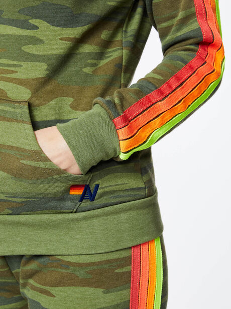 Classic 4 Stripe Zip-Up Hoodie Camo, Green/Camo, large image number 2