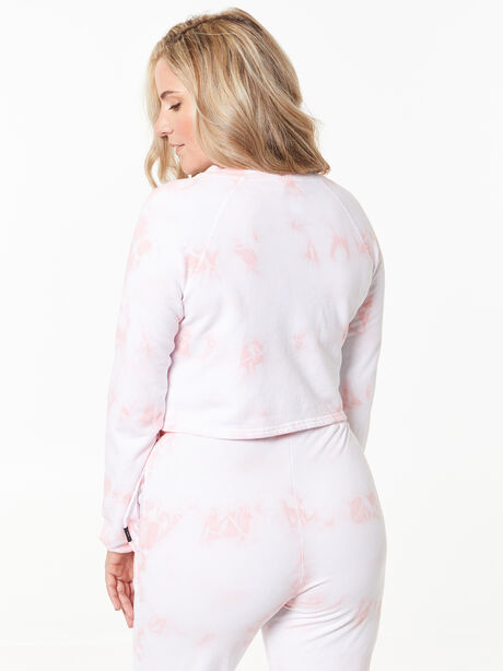 Don't Stop Crop Long Sleeve Rose Cloud, White/Pink, large image number 4