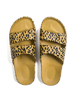 Moses Two Band Slides Leopard Pistaccio, Leopard, large