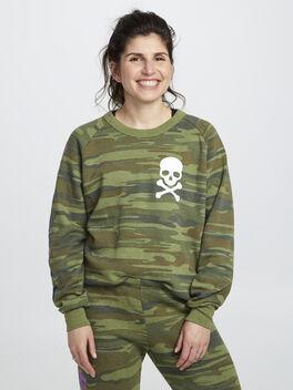 Camo Crewneck Sweatshirt, Green/Camo, large