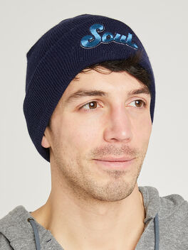Beanie with Blue Soul Patch, Navy, large