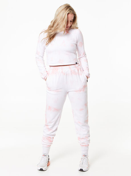 Don't Stop Crop Long Sleeve Rose Cloud, White/Pink, large image number 0
