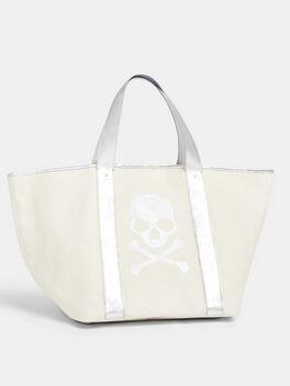Canvas Skull Bag, Eco Ivory, large