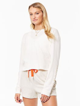 The Long Sleeve Twister Crop Pastel Parchment, White, large