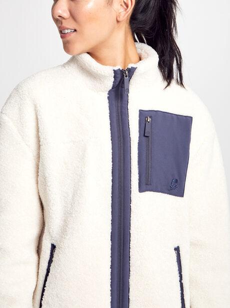 White Shearling Tri-Tone Zip-Up, Natural, large image number 1