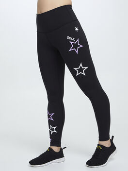 """Wunder Under High-Rise Tight 25"""" Pink and White Stars, Black, large"""
