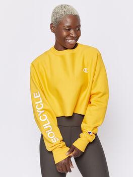 Cropped Crewneck Sweatshirt, Yellow, large