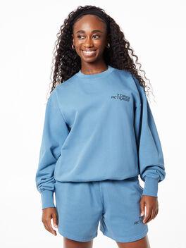 Monday Crew Neck Sweatshirt Aegean Blue, Teal, large