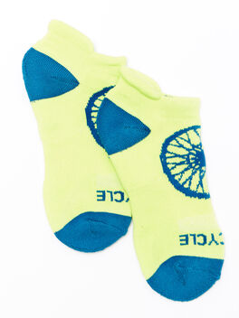 Lime Ankle Sock With Green Heel/Toe, Sunny Lime/Hydro, large