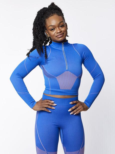 Seamless Half-Zip Jacket, Blue, large image number 0