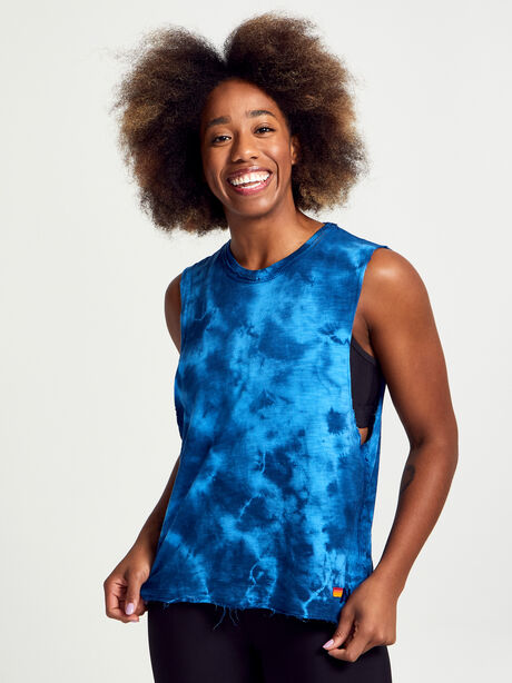 Tie-Dye Muscle Tank Top, Blue Tied, large image number 1