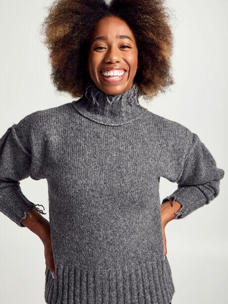 Charcoal Kori Turtleneck Sweater, Charcoal, large image number 1