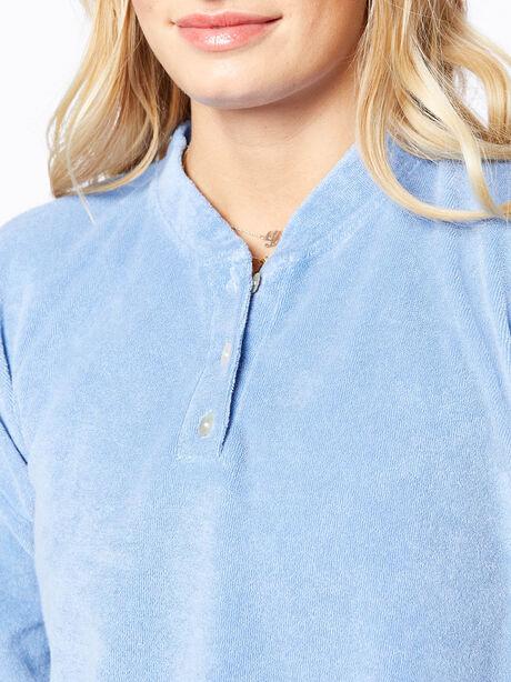 Terry Henley Sweatshirt Denim, Blue Denim, large image number 1
