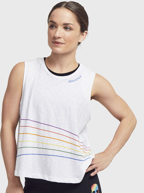 Rainbow Stripes Boxy Tank Top, White, large image number 0