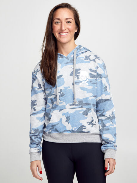 Blue Camo Cropped Hoodie, Blue, large image number 1