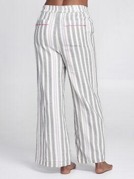 Striped Wide Leg Pants, Natural, large