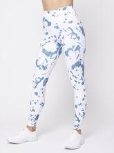 Foldover Waistband Tie Dye Legging, Blue/White, large