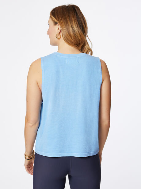 Cropped Boxy Tank Bel Air Blue Sandwash, Blue Mineral Wash, large image number 2