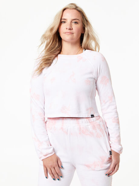 Don't Stop Crop Long Sleeve Rose Cloud, White/Pink, large image number 2