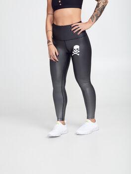 Spot On High Waisted Midi Leggings, Shine Dot Black, large