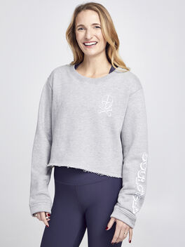 Casey Cropped Sweatshirt , Heather Grey, large