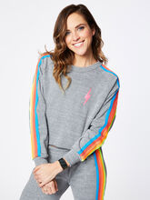 Classic 5 Stripe Crew Sweatshirt Heather Grey, Heather Grey, large