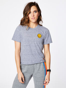 Smiley Embroidered Boyfriend Tee Heather Grey, Heather Grey, large