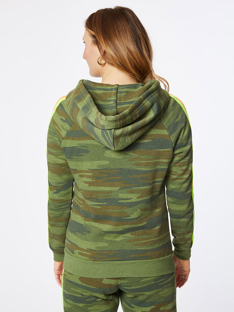 Classic 4 Stripe Zip-Up Hoodie Camo, Green/Camo, large image number 3