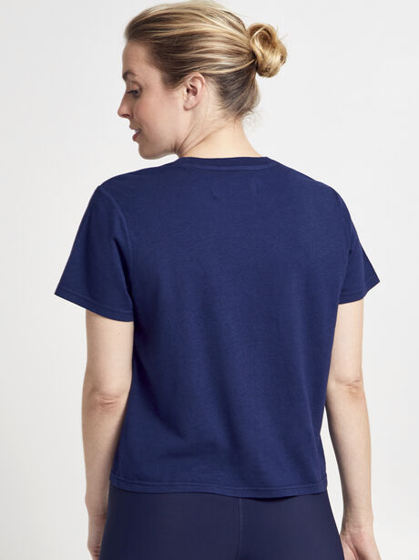 Classic Crew Neck Tee Shirt, Navy, large image number 3