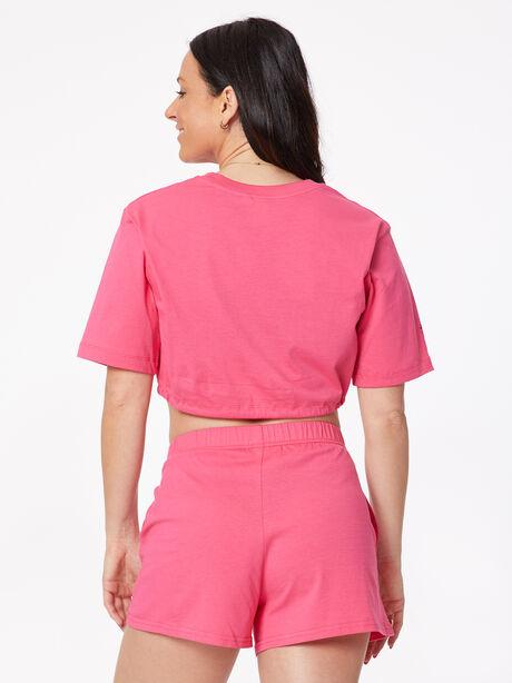 Cotton Crop Drawstring T-Shirt Raspberry, , large image number 2