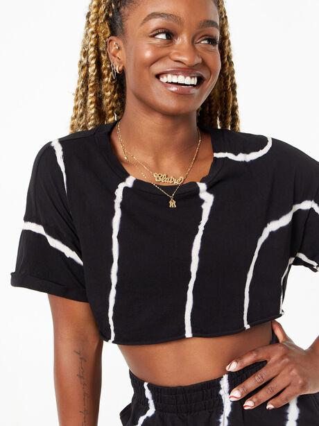 YOS x Lindsey Cropped Tee Black Tie Dye, Tie Dye/Black, large image number 1