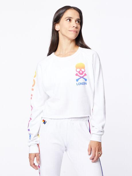 Exclusive Classic Cropped Crew Sweatshirt White/Rainbow London, White, large image number 2
