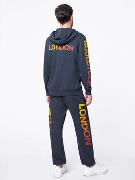 Exclusive Aviator Nation Zip-Up Hoodie Dark Charcoal London, Black Slub, large