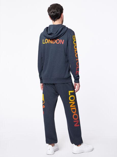 Zip-Up Hoodie Dark Charcoal London, Black Slub, large image number 0