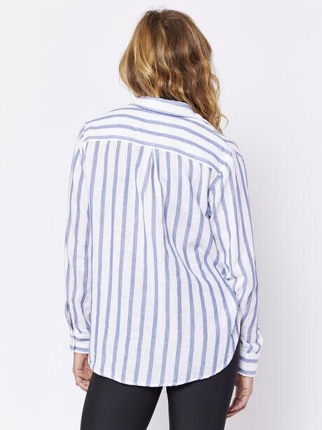Regean Button-Down, White/Navy Stripe, large image number 1