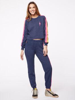 Classic Bolt Cropped Crew Sweatshirt Heather Navy, Heathered Deep Navy, large