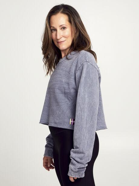 Casey Crop Sweatshirt, Dark Grey, large image number 1