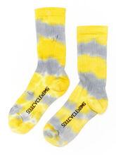 Unisex Tie-Dye Sock Yellow/Grey, Yellow/Grey, large