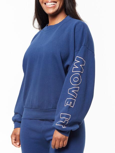 The Loosen Up Crop Sweatshirt Insignia Blue, Blue, large image number 2