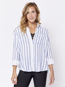 Regean Button-Down, White/Navy Stripe, large