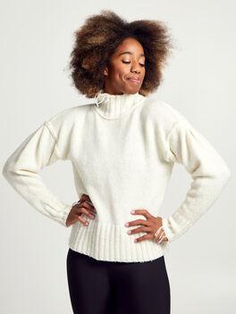 Kori Turtleneck Ivory Sweater, White, large