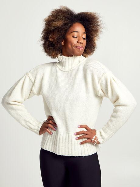 Kori Turtleneck Ivory Sweater, White, large image number 0
